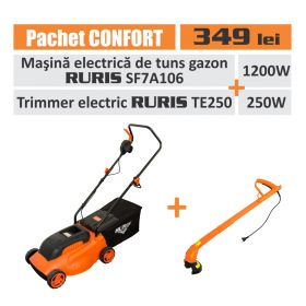 "Pachet ""Confort"" ( masina tuns gazon electrica ruris sf7ai06 + trimmer electric ruris te250)"